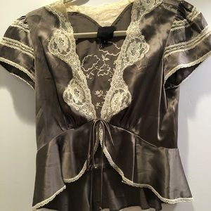 Vintage Anna Sui silk and lace bolareo top